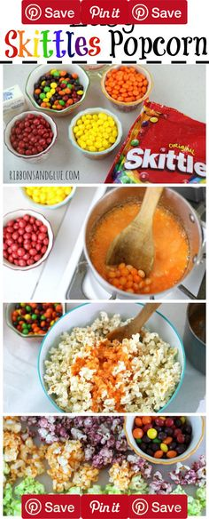 Easy Skittles Popcorn. Skittles Flavored Popcorn in embossed paper bags , chocolate pretzel football sticks topped with crushed Snickers bar.