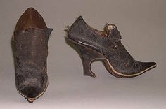 Shoes, leather, supposedly 1660-1760 (but frankly this date range is ludicrous; 1680-1720, while still pretty broad, is a much more reasonable range), French.