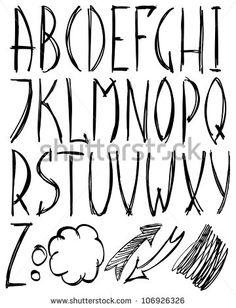 Hand drawn alphabet. Vector illustration.