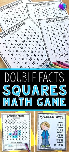 Help improve your first grade and second grade students' fact fluency by practicing double facts with this fun game. Just add it into your math rotations, math centers, Friday Fun Day, or have it available for your fast finishers. Double Facts Squares Math Game- is a simple activity to learn yet fun to play again and again. #mathgamesforsecondgrade
