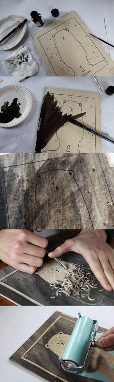 Décoration sur planche de bois, motif au choix. Bois repoussé et peinture: