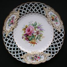 Finest antique English porcelain Minton cabinet plate pierced Newcastle ...antiqueszone.co.uk