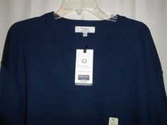 TURNBURY V-Neck Sweater Big Man Size 4XB Merino Wool Navy Blue NEW MSRP $79  #Turnbury #VNeck