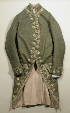 Court coat National Trust Inventory Number 1348776 Date1760 - 1770 MaterialsLinen, Satin, Silk, Silk satin, Silk twill CollectionSnowshill Wade Costume Collection, Gloucestershire (Accredited Museum)