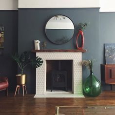 This beautiful fireplace sits perfectly against contemporary Down Pipe coloured walls – fantastic room avesome Home Living Room, Living Room Color, Blue Living Room, Blue Rooms, Living Room Paint, New Living Room, Living Room Diy, Home Decor, Victorian Living Room