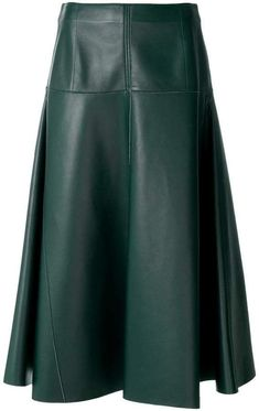 Fendi leather midi skirt Skirt Outfits, Chic Outfits, Dress Skirt, Fashion Outfits, Womens Fashion, Long Leather Skirt, Black Leather Skirts, Preppy Mode, Preppy Style
