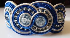 Soutache bracelet with crackle beads  in blue by EmilyArtHandmade