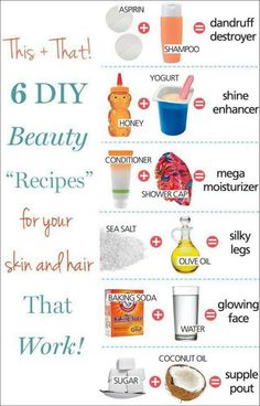 #DIY beauty recipes ... These are great. Except, NEVER use baking soda on your face. It causes micro tears that is terrible for your skin!