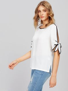 Shop Contrast Binding Split Tie Sleeve Top online. SheIn offers Contrast Binding Split Tie Sleeve Top & more to fit your fashionable needs.