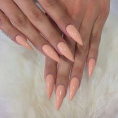 Stiletto peach acrylic nails