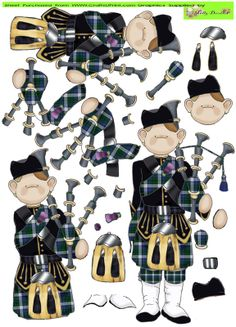 - This cute little piper comes with all the elements required to create a stunning dimensional topper for your crafting projec. Doodle People, Decoupage Printables, 3d Cards, Folded Cards, 3d Paper Crafts, Candy Cards, Decoupage Paper, Punch Art, Cute Crafts