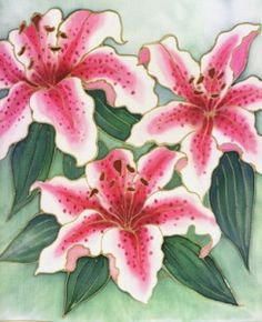 Lily::Painting on silk.