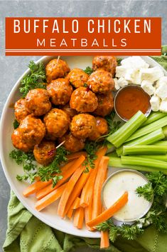 Spicy, cheesy, and perfectly poppable, Stuffed Buffalo Chicken Meatballs are the ultimate appetizer to serve for game day. Crockpot Recipes, Chicken Recipes, Cooking Recipes, Healthy Recipes, Chicken Dips, Hot Appetizers, Appetizer Recipes, Clean Eating Snacks, Healthy Eating