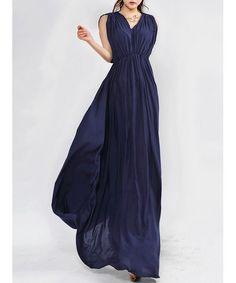 Solid Color Elegant Style V-Neck Pleated Sleeveless Beam Waist Women's Dress