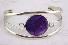 Alpaca Mexican Silver Cuff Bracelet Purple Abalone Circle Fashion Jewelry NEW #Unbranded #Bangle