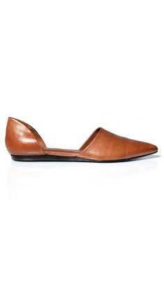 """Gold lizard leather pointed toe d'orsay flat. Seam at vamp. Heel 1/2"""" (12 mm). Made in Italy"""