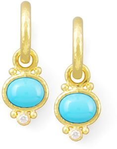 Elizabeth Locke Turquoise & Diamond Earring Pendants on shopstyle.com