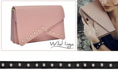 Light pink Anne leather clutch with pearls and black Rhea leather bracelet with pearls@Wild Inga