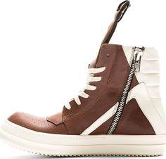 Rick Owens: Red & White Geobasket High-Top Sneakers