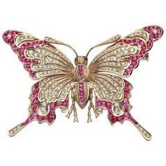 Ruby and Diamond Gold Butterfly Brooch