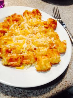 Tater tot and a waffle maker mix together is deliciouseasy