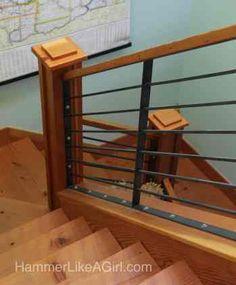 stair railing design, custom stair railing, metal and wood staircase, modern stair