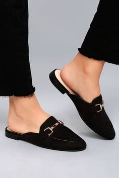 From the office to happy hour the Eliza Black Suede Loafer Slides are your new go-to shoes! Soft vegan suede shapes a rounded toe upper with notched collar and shiny gold hardware. Slide-on design for the girl on the go! Black Suede Loafers, Loafers Men, Men Dress, Dress Shoes, Dress Clothes, Half Shoes, Backless Loafers, Simple Shoes, Vegan Shoes