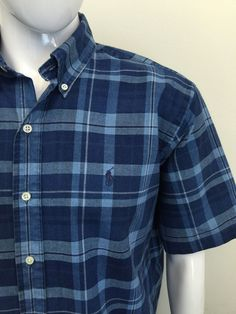 #RALPHLAUREN Mens Shirt Large REGULAR FIT Navy Blue White CHECK SHORT SLEEVE #CHEAP #DESIGNER #FASHION #MENSWEAR #MENSTYLE #MACMENSWEAR #MENSCLOTHING #MENSFASHION