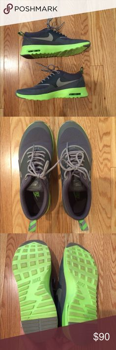 Nike Air Max Thea neon green gray size 7 Size 7 Nike Air Max Thea style shoe! Worn once! In excellent condition!!! Laces, insole, soles - all in great condition. Will not come with box. No stains or imperfections. Smoke free home. Price is firm & no trades. Nike Shoes