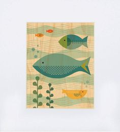 Fish Baby Print on Wood - Petit Collage: artwork by Lorena Siminovich