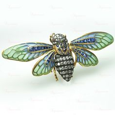 Edwardian Gold Enamel Diamond Sapphire Plique A Jour Insect Brooch