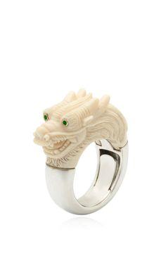 Silver Mammoth Dragon Ring by Bibi van der Velden for Preorder on Moda Operandi