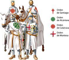 Four major Spanish military orders during the Middle Ages (Santiago, Calatrava, Alcántara, Montesa) Knights Hospitaller, Knights Templar, Medieval Knight, Medieval Armor, European History, Ancient History, Knight Orders, Crusader Knight, Military Orders