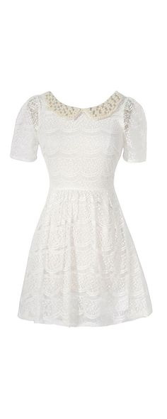 Pearl and Rhinestone Embellished Peter Pan Collar Lace Dress in Off White