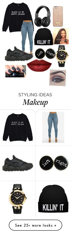 """Black is my new happy color"" by engatonye on Polyvore featuring NIKE, MICHAEL Michael Kors and Versace"