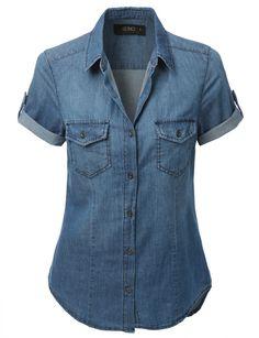 LE3NO Womens Cuffed Short Sleeve Chambray Denim Shirt