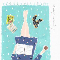 "208 mentions J'aime, 9 commentaires - Gemma Luxton (@gemmaluxton) sur Instagram : ""A lovely afternoon spent reading books #illustration #gouache #watercolour #sketchbook #art…"""
