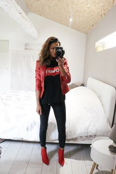 Red Outfits For Women, Cool Outfits, Clothes For Women, Girl Fashion, Womens Fashion, Fashion Trends, Outfit Invierno, All About Shoes, Casual Looks