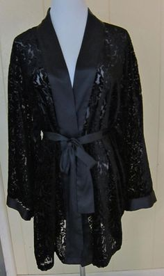 Victoria's Secret One Size Black Semi Sheer Short Robe Sleepwear Top #VictoriasSecret #Robes