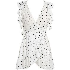 White V Neck Polka Dot Ruffle Wrap Dress (€19) ❤ liked on Polyvore featuring dresses, vestidos, tops, v neck wrap dress, v neck ruffle dress, white polka dot dress, flutter-sleeve dresses and white ruffle dress