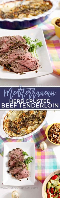 Mediterranean Herb Crusted Beef Tenderloin makes an elegant centerpiece for any holiday, whether it be Valentine's Day, Easter, Thanksgiving, Christmas, birthday dinners and more! #entree #recipe #holidaymeal | Beef Tenderloin | Homemade Beef Tenderloin | Mediterranean Spiced Entree | Valentine's Day Entree | Easter Entree | Christmas Day Entree | Christmas Eve Entree | Thanksgiving Beef Entree | Beef Entree | Beef Tenderloin