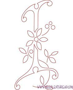 Monogram for Hand Embroidery: Letters I and J Hand Embroidery Letters, Embroidery Transfers, Beaded Embroidery, Embroidery Stitches, Embroidery Patterns, Quilling Letters, Quilling Art, Wood Burning Patterns, Doodle Coloring