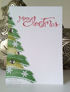 Yvonne Swap_Magpiecreates - Stampin' Up - Christmas - Homemade Christmas Cards, Stampin Up Christmas, Christmas Cards To Make, Noel Christmas, Xmas Cards, Homemade Cards, Handmade Christmas, Holiday Cards, Painted Christmas Tree