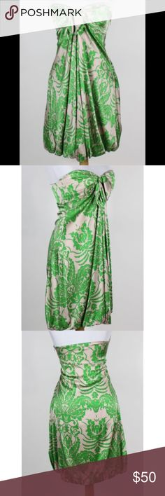 Wendy Katlen Strapless Dress Beige and green floral pattern. Silk/satin sweetheart bubble dress. Anthropologie Dresses Strapless