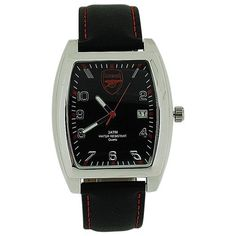 Arsenal FC Mens Black Dial Date Black Leather Strap Football Watch GA3716