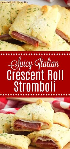 Try this Spicy Italian Crescent Roll Stromboli for a quick and delicious dinner idea that everyone is sure to love. Find the recipe at gracefullittlehoneybee.com #crescentroll #stromboli #italian Appetizers For A Crowd, Low Carb Appetizers, Stromboli Italian, Slow Cooker Recipes, Cooking Recipes, Freezer Cooking, Crescent Rolls, International Recipes, Quick Easy Meals