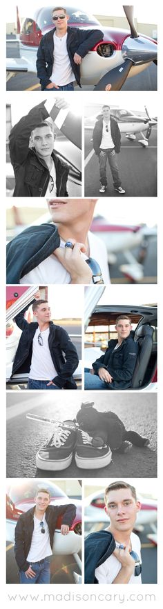 modern senior guy portraits // airplane pilot // guy senior poses and outfit ideas http://madisoncary.com