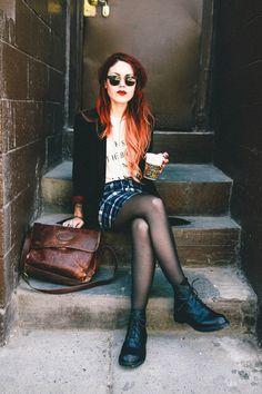 Plaid pencil skirt. Tights. Leather satchel. Blazer.
