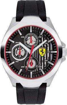 d9cb7b9d477 Ferrari Men s Chronograph Aero Black Silicone Strap Watch 44mm Ferrari  Watch