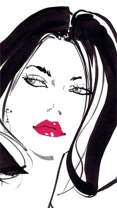 Lady with red lipstick, illustration for Tie Rack by Jacqueline Bissett